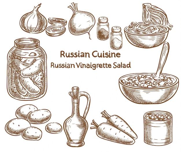 ロシア料理、ロシアのビネグレットサラダ、食材