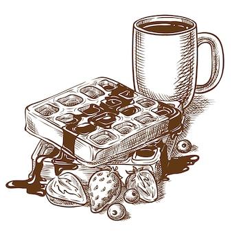 朝ごはん。ベルギーのワッフル、ベリーとコーヒー