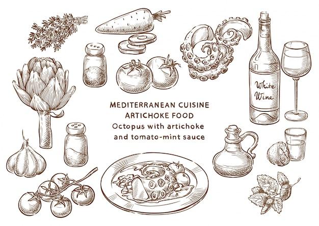 Осьминог с артишоком и томатно-мятным соусом