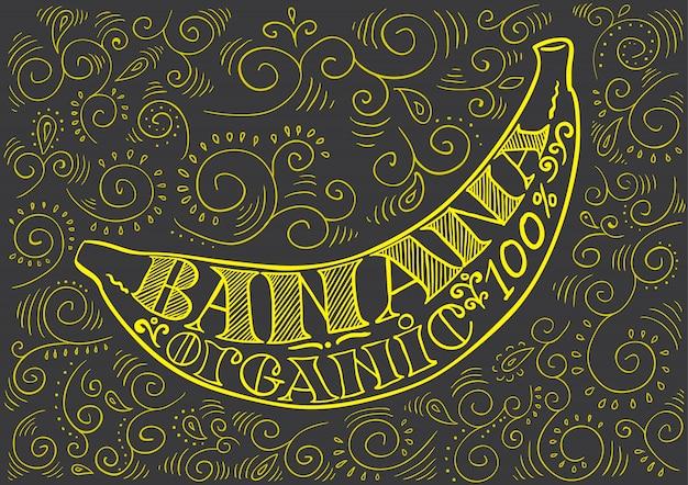 暗い背景に葉のレタリングとポスターバナナ