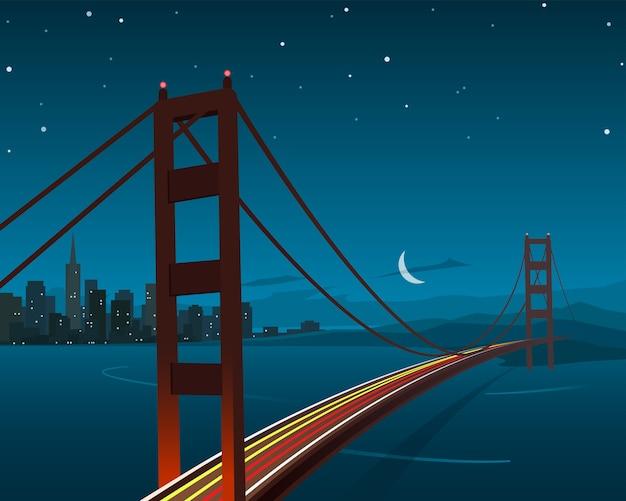 Сан-франциско и ночная сцена на мосту золотые ворота