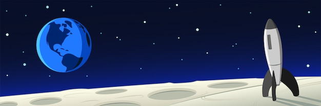 Лунный пейзаж с ракетой и земной сценой