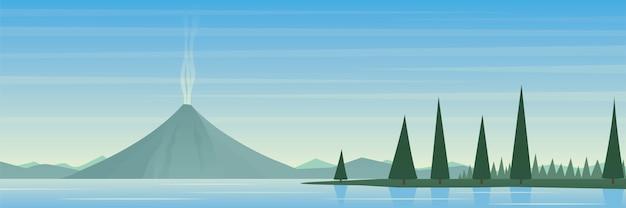 活火山と湖の風景シーン