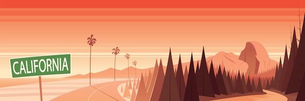 カリフォルニアの自然のランドマークと風景のシーンと表示記号
