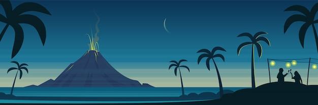 Пейзажный баннер извержения вулкана и тропического острова