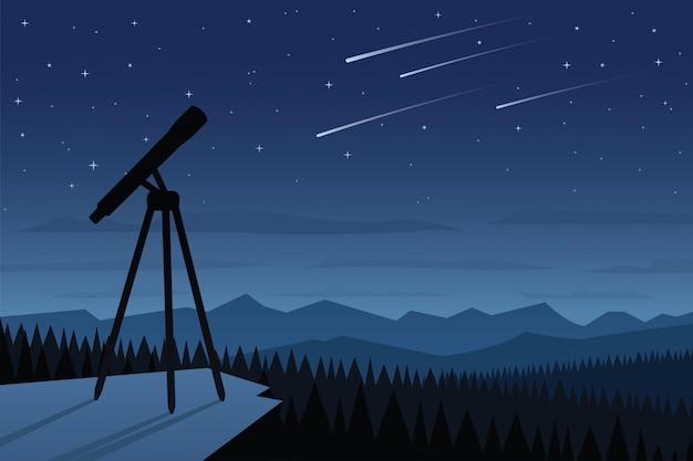 天文学と美しい夜空のシーン