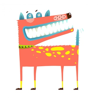 Страшно смешная собака стоит улыбающийся ухмыляясь