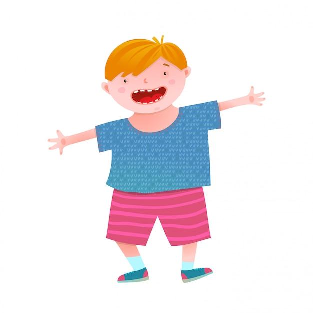 楽しい笑顔の小さな男の子の赤い頭の子供