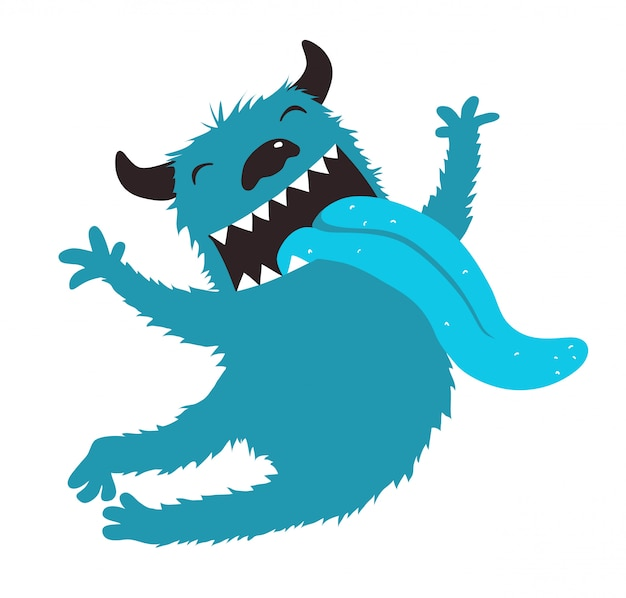 Сумасшедший монстр показывает язык прыгает