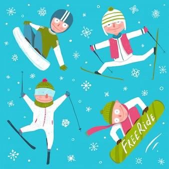 Лыжный сноуборд снежинки зимний спорт коллекция смешных мультфильмов