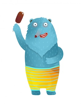 Смешные медведь с мороженым, улыбаясь носить шорты. голубой медведь держа шарж стиля акварели мороженого красочный смешной для детей изолированный.