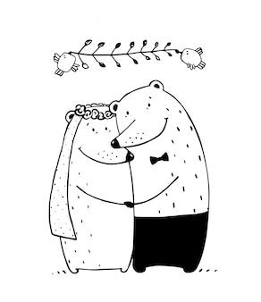 クマの結婚式のカップル