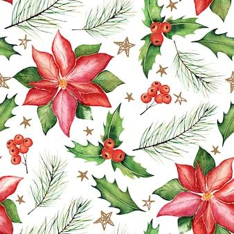 水彩クリスマスシームレスパターン