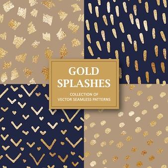 シームレスな金色の抽象的なフォームパターンのコレクション
