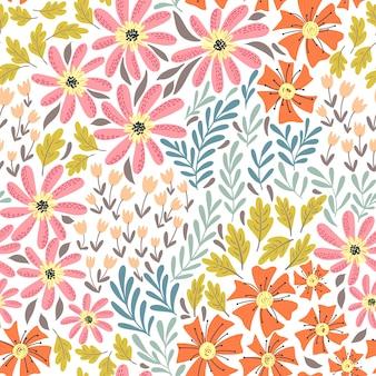 シンプルな野生の花模様