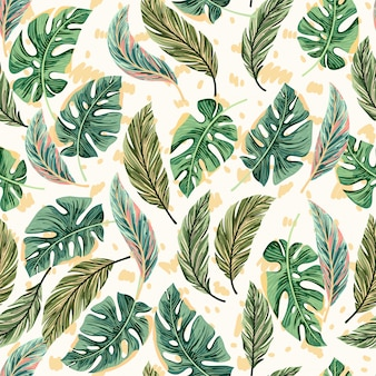 Тропические яркие пальмовые листья бесшовные модели