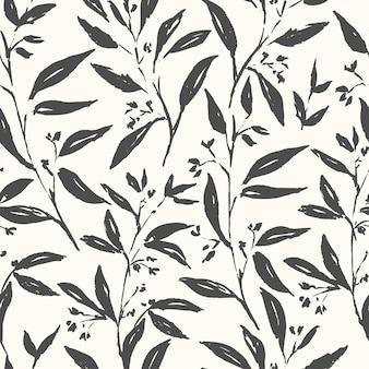 手描き植物黒と白のシームレスパターン
