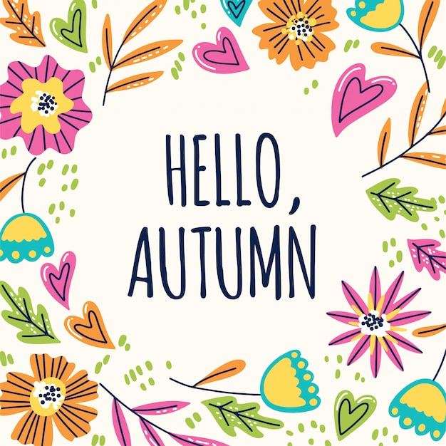 こんにちは秋のフローラルリース