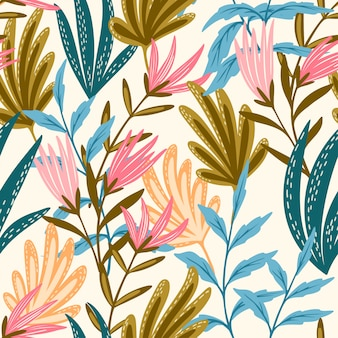 Бесшовный цветочный розовый и синий