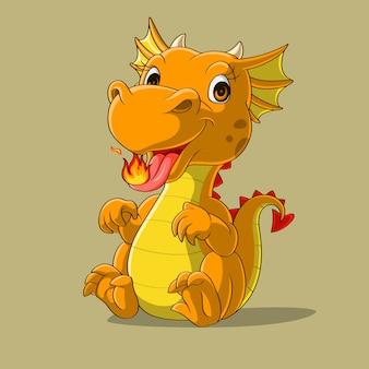 Милый маленький дракон, плевки огня рисованной