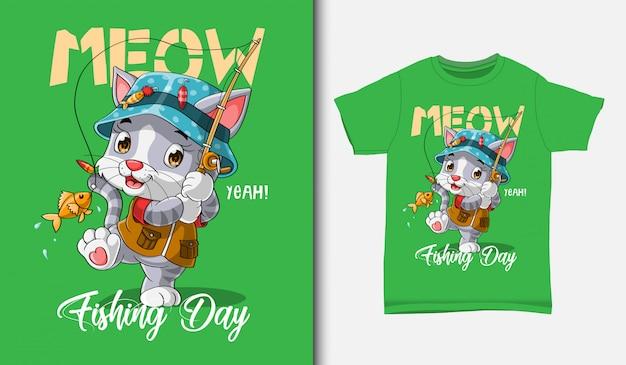 Симпатичная кошка рыбалка иллюстрация с дизайном футболки, рисованной
