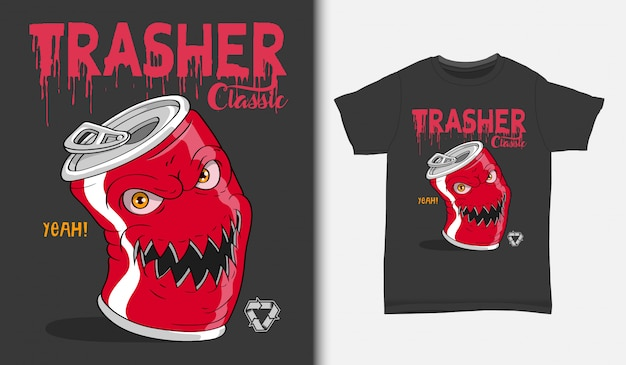 Сердитая иллюстрация банок содовой, с дизайном футболки, рисованной
