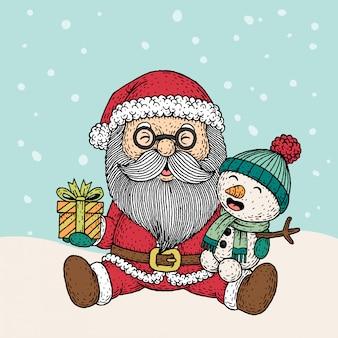 手描きのクリスマスサンタクロースと雪だるま
