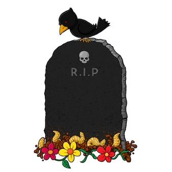 手描き漫画の墓石。