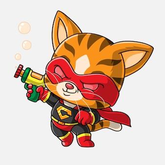 Мультипликационный кот супер герой, рисованной