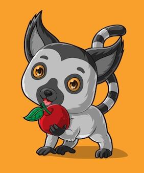 Мультяшный малыш лемур держит красное яблоко, рисованной