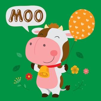 Милая корова держит воздушный шар.