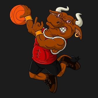 Рисованной бык играет в баскетбол