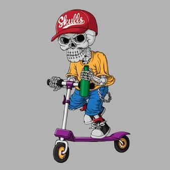 スクーターに乗って頭蓋骨