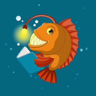 本を読んでいる魚