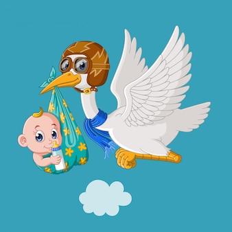 かわいい漫画の男の子と飛んでいるコウノトリ
