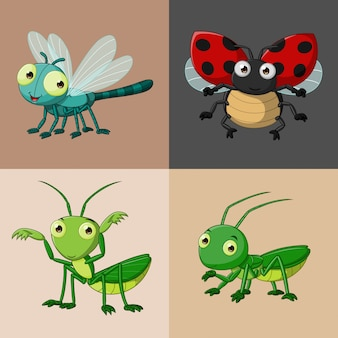 漫画かわいい昆虫コレクションセット