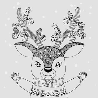 トナカイクリスマス、手描き