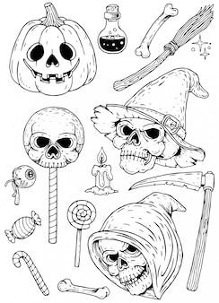 ハロウィーンの手描きの要素セット
