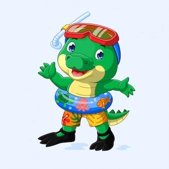 Милый маленький крокодил готов плавать