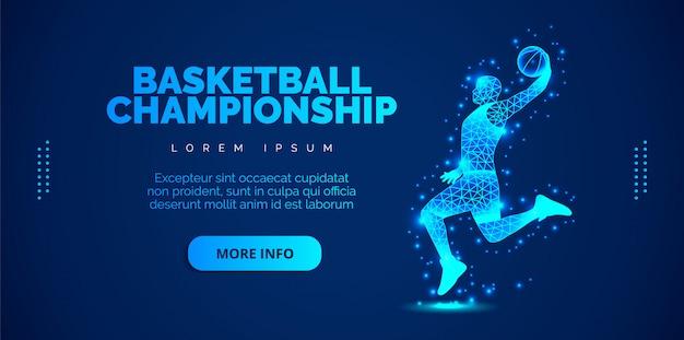 青色の背景に粒子から抽象的なバスケットプレーヤー。テンプレートパンフレット、チラシ、プレゼンテーション、ロゴ、印刷、リーフレット、バナー。