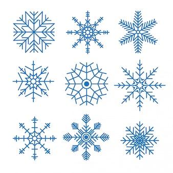 様々な雪片のデザインセット