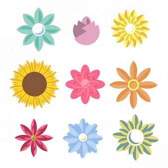 Простой цветочный векторный набор