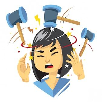 頭痛の図を取得している女性