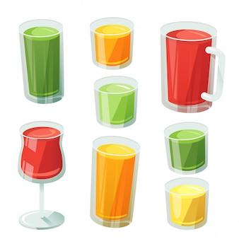 各種ガラス製のフルーツジュース