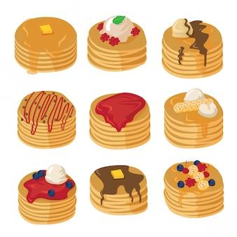 様々なトッピングセットのパンケーキ