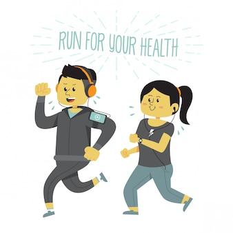 有酸素運動をしている健康なカップル