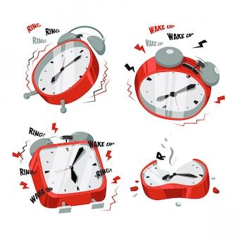 鳴っている赤い時計イラストセット