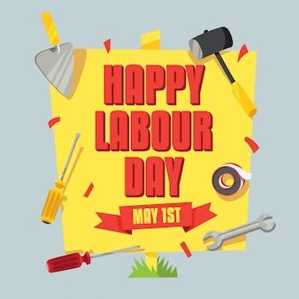 幸せな労働者の日のポスター