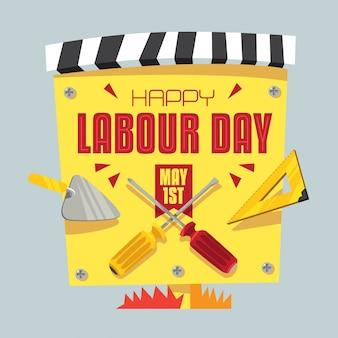 幸せな労働者の日ポスターデザイン