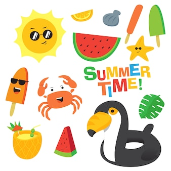 Красочное летнее время мультфильм векторный набор